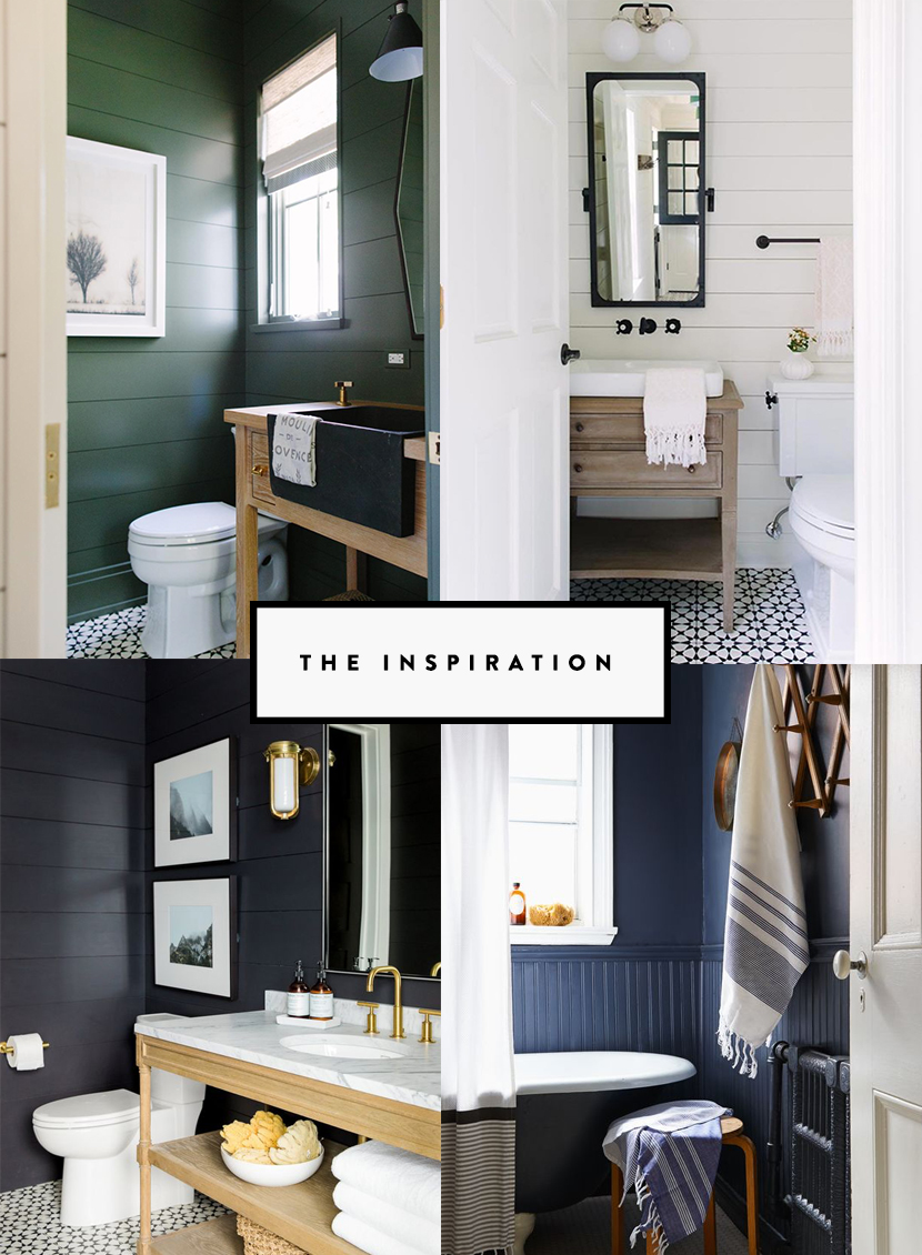 Our half bath design is up today on The Fresh Exchange. Inspiration for a Half Bath done in a Modern Farmhouse style.