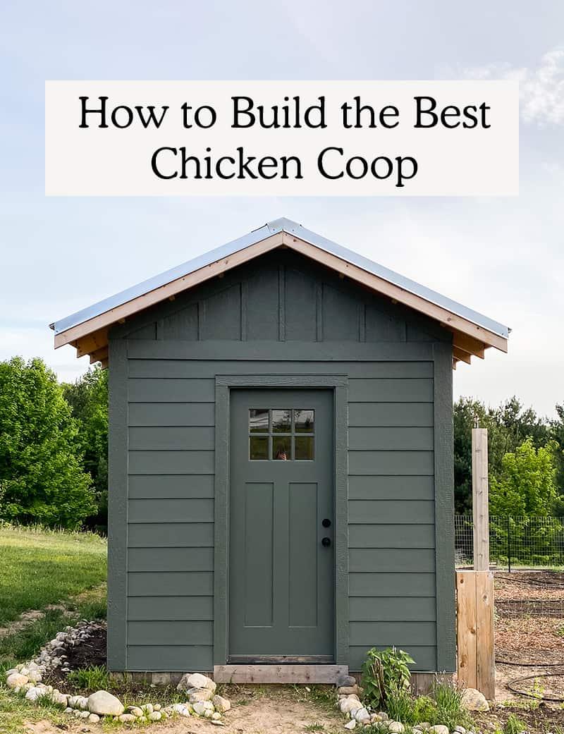 Green Chicken coop with Craftsmen door
