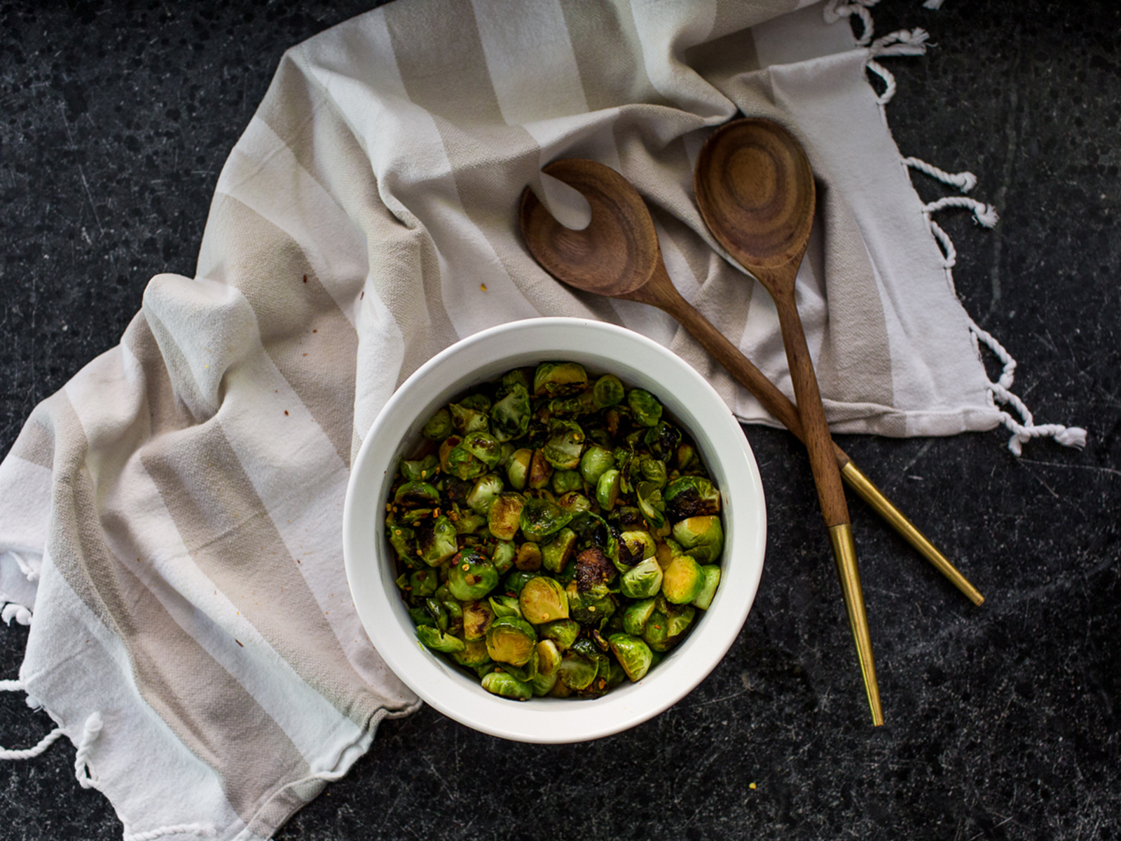 A Simple Spicy Brussels Sprouts Recipe adapted from Love and Lemons | The Fresh Exchange