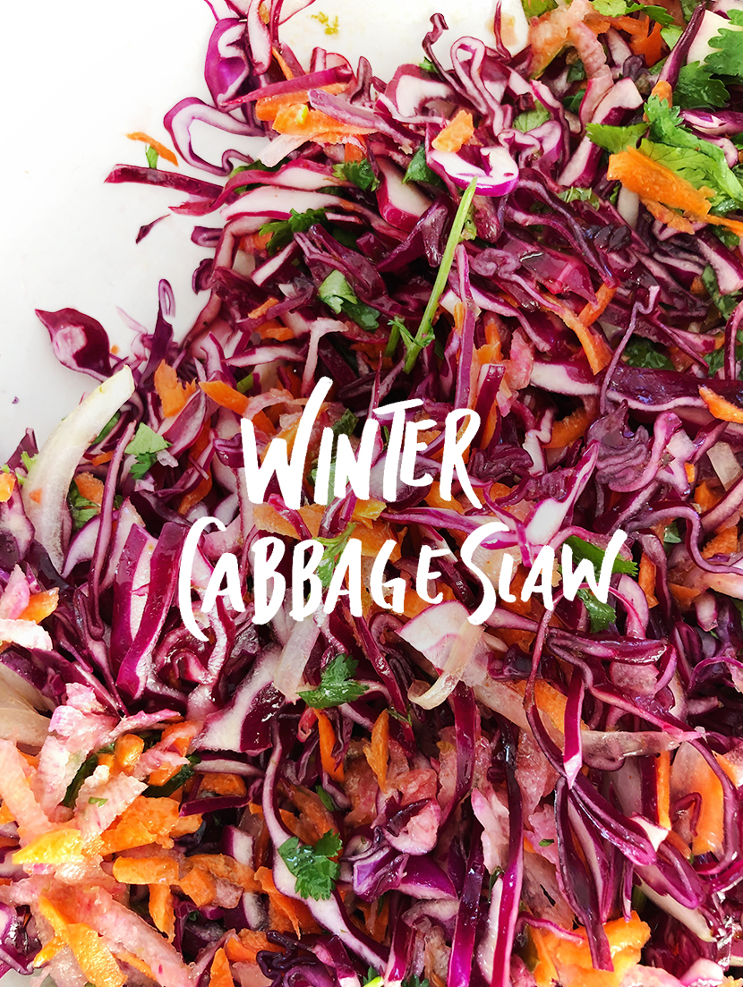 Seasonal eating recipes for the end of winter and early spring. A Winter Cabbage slaw to replace green salads. Get the recipe on The Fresh Exchange