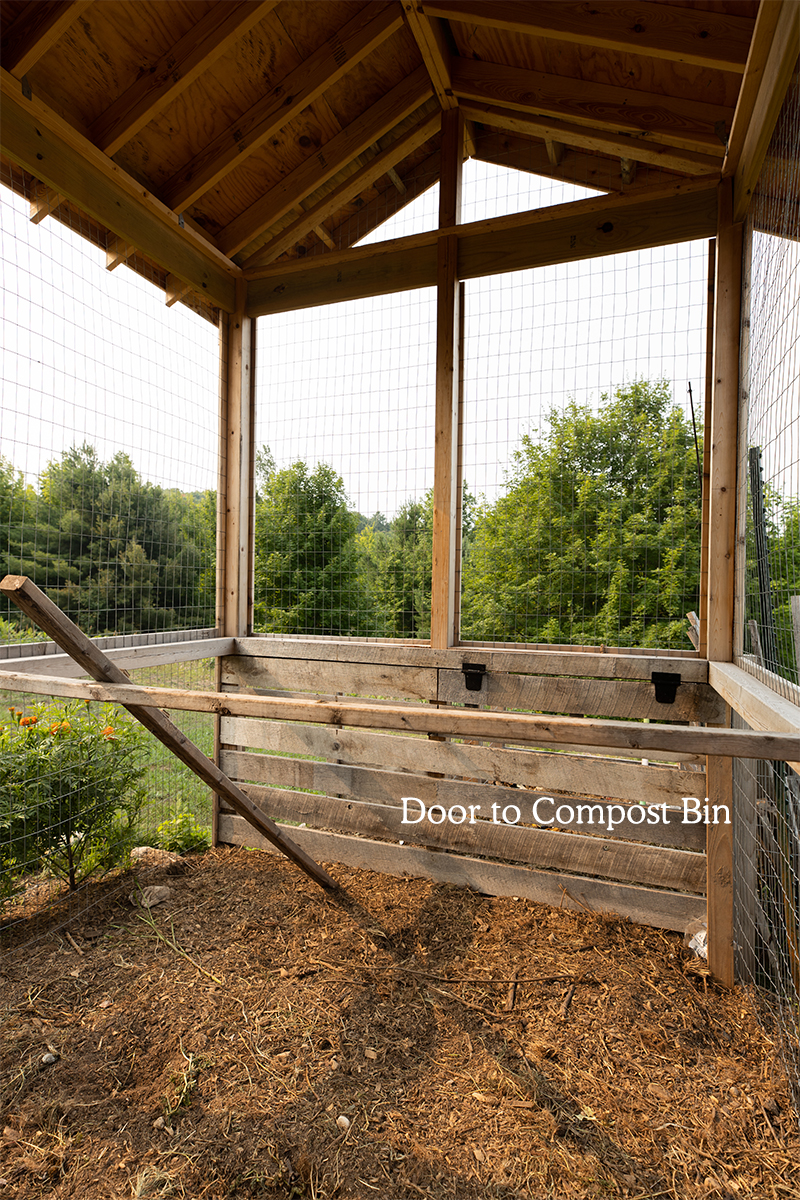Creating an opening from Chicken Coop to Compost Bin