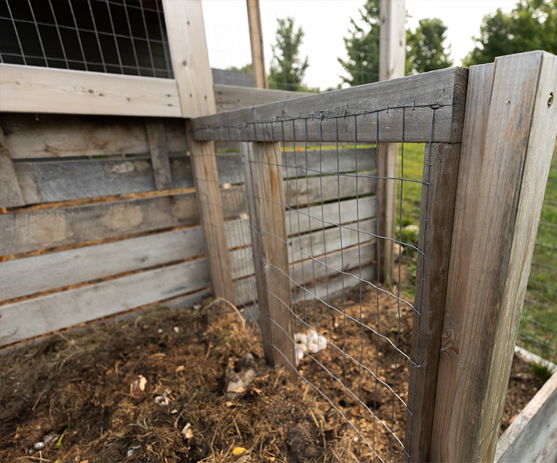 Compost Bin Wire framing around pile for air flow