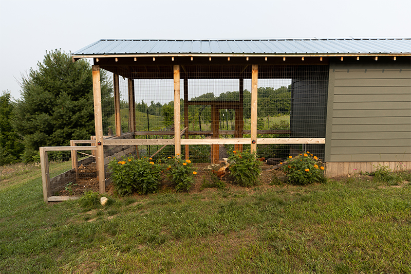 Chicken coop with attached compost bin