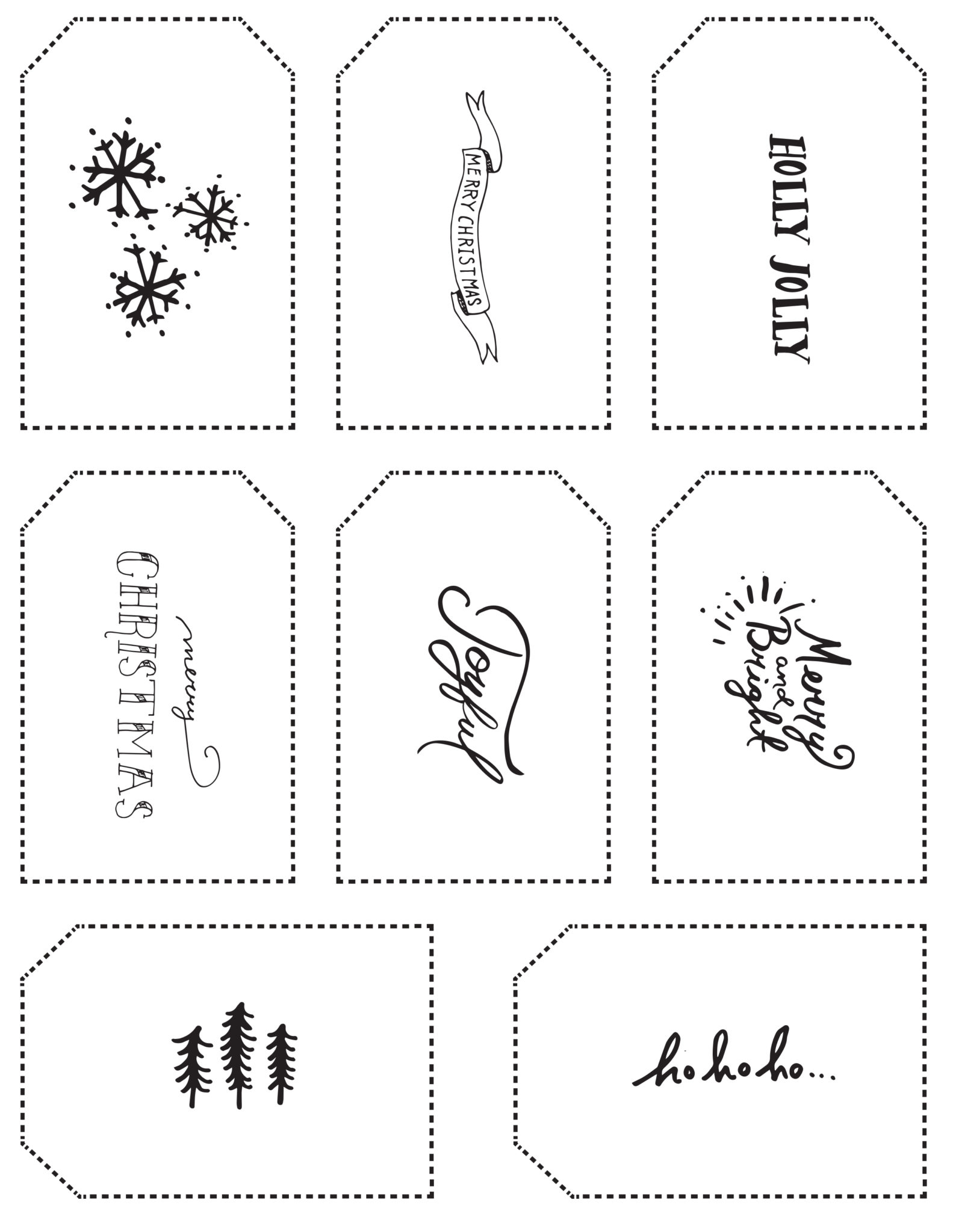 image relating to Printable Christmas Tags Black and White identified as Do-it-yourself Printable Reward Tags Contemporary Change