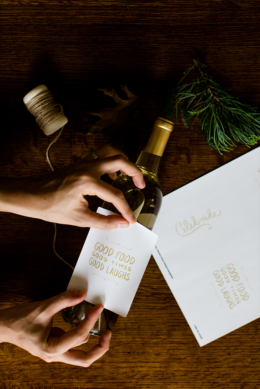DIY Holiday Wine Labels with Free Downloadable Graphics | The Fresh Exchange