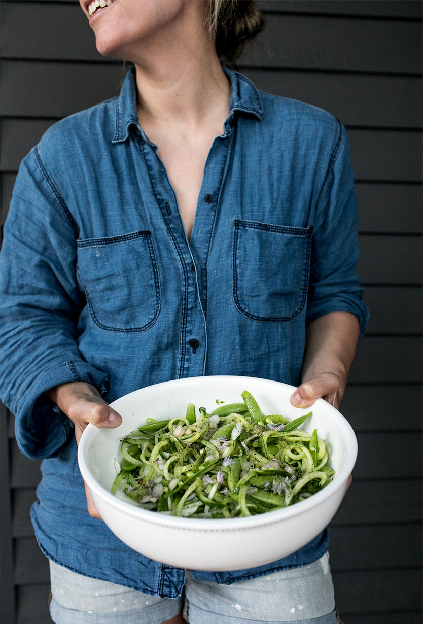 Early Summer Harvest salad with sugar snap peas, fennel, and ramps. Get the full recipe on The Fresh Exchange.