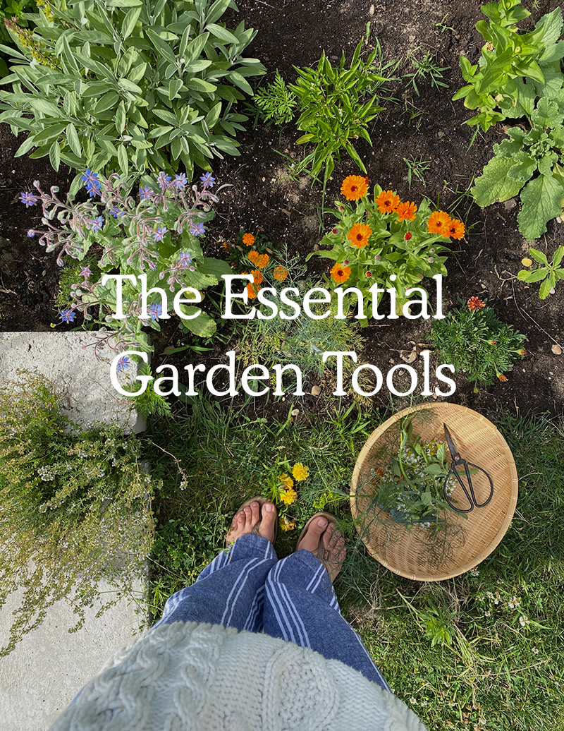 Essential tools for gardening a home garden.