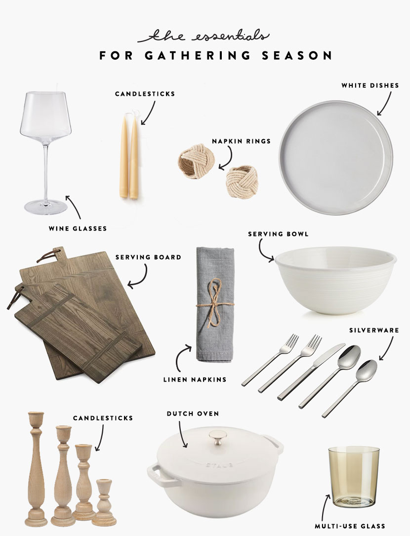 The things you need to throw a beautiful and simple gathering this holiday season. Find the list of Essentials on The Fresh Exchange. #gather