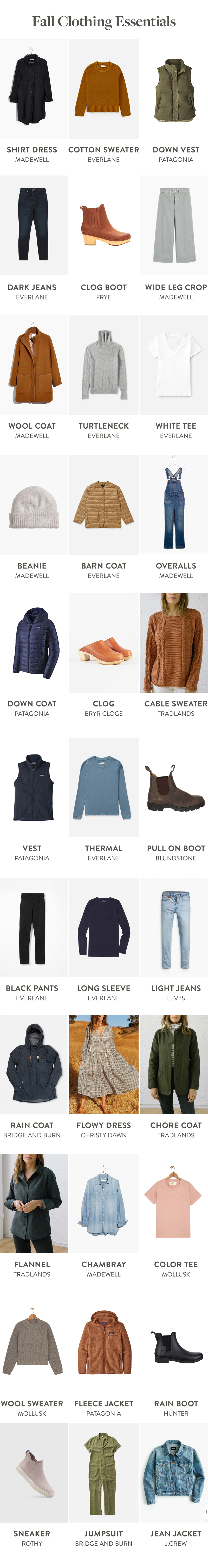 Fall Clothing Essentials to help make the transition from summer to fall easier.