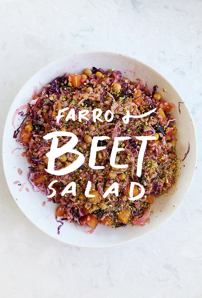 Seasonal Eating: A Farro and beet Salad for late winter. Get the recipe on The Fresh Exchange. #eatseasonal #seasonaleating