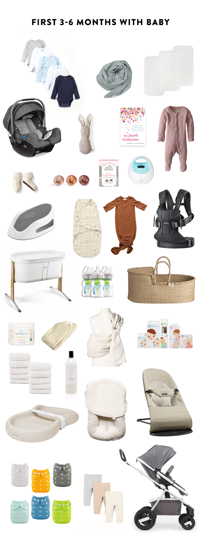 List of Items for Babies first 6 months - the list of the best items for a minimalist baby registry