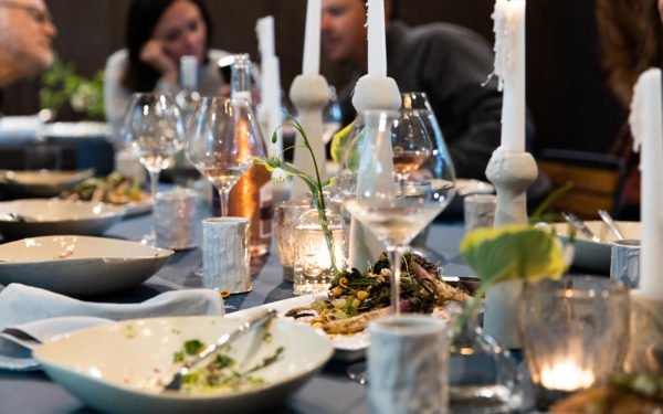 Birch Le Dinner at a Modern Prefab with Farm to Table food from The Northport Tribune in Leelanau County Michigan