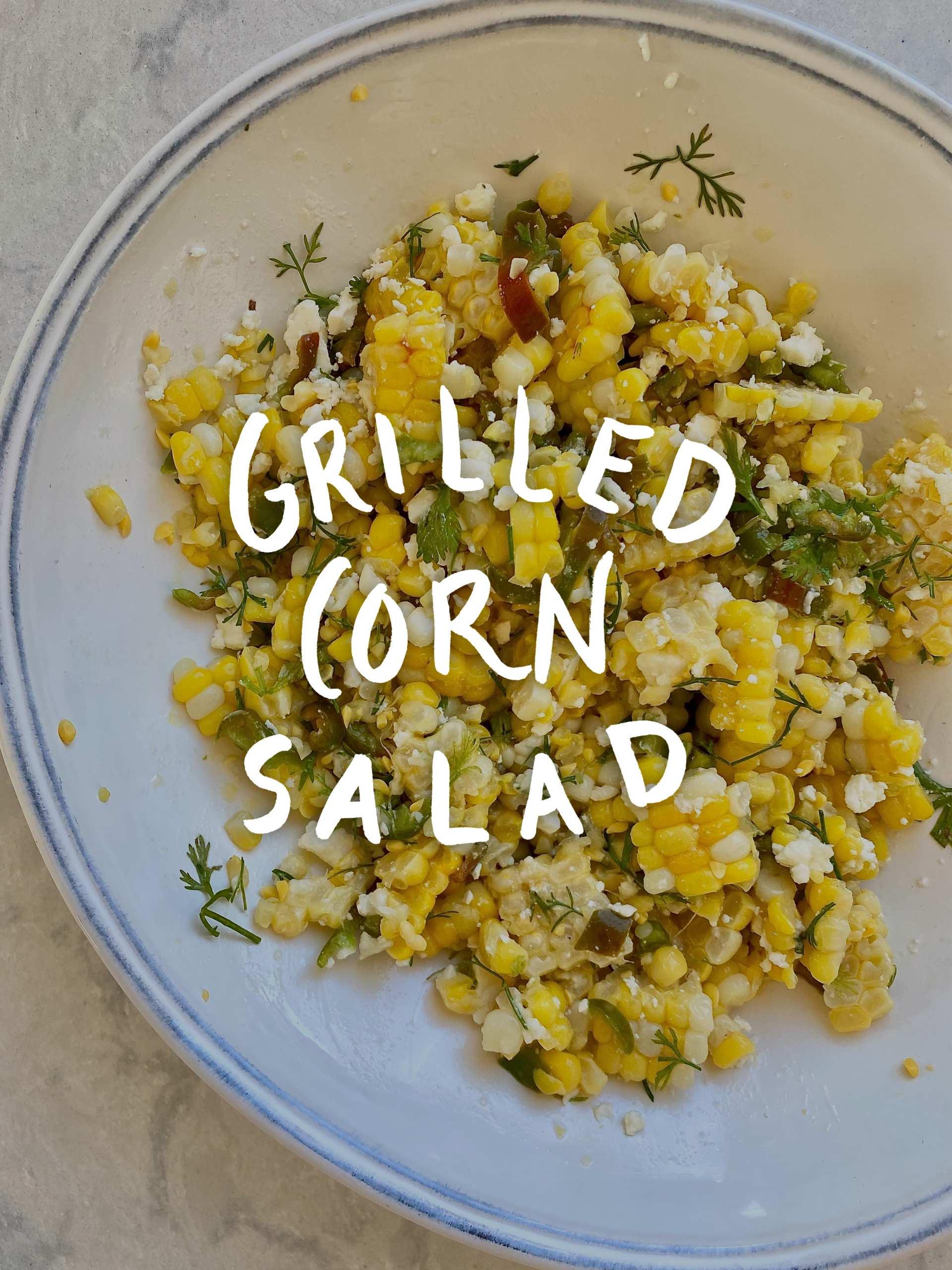 Best Grilled Corn Salad Recipe - a bowl of grilled corn salad