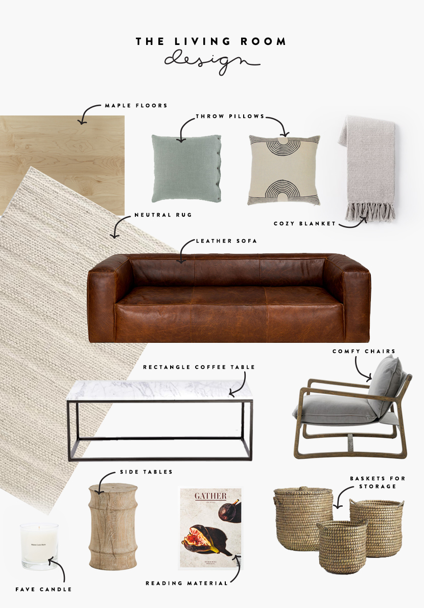 The Design for our Modern Farmhouse living room on The Fresh Exchange.