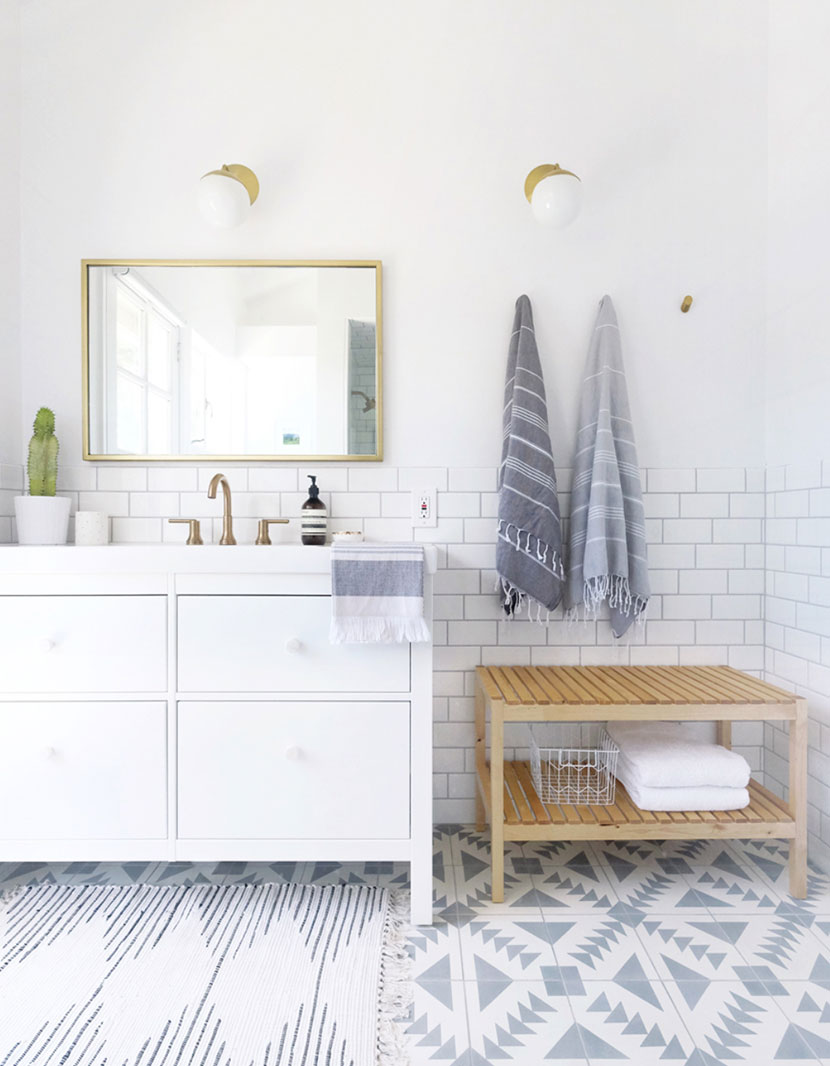 A Farmhouse Modern Tiled Master Bathroom With Color In Neutral Scandinavian Style