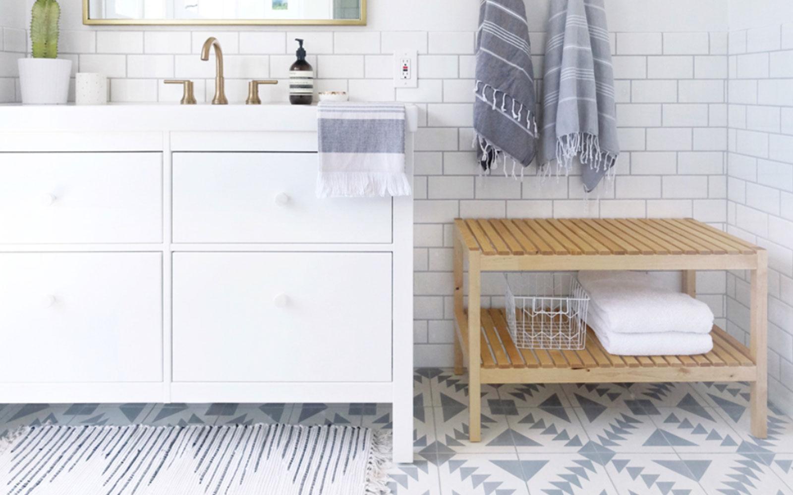 A Farmhouse Modern Tiled Master Bathroom with color. In a neutral Scandinavian Farmhouse style.