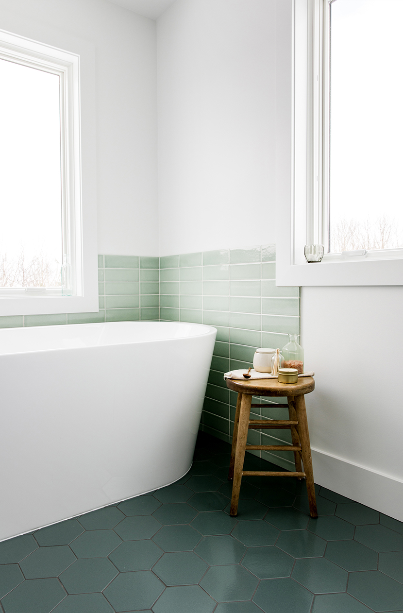 Our Modern Master bath that envokes Lake Michigan and Scandinavian Farmhouse style. A little bit of color in a minimal bathroom. See the full thing on The Fresh Exchange.