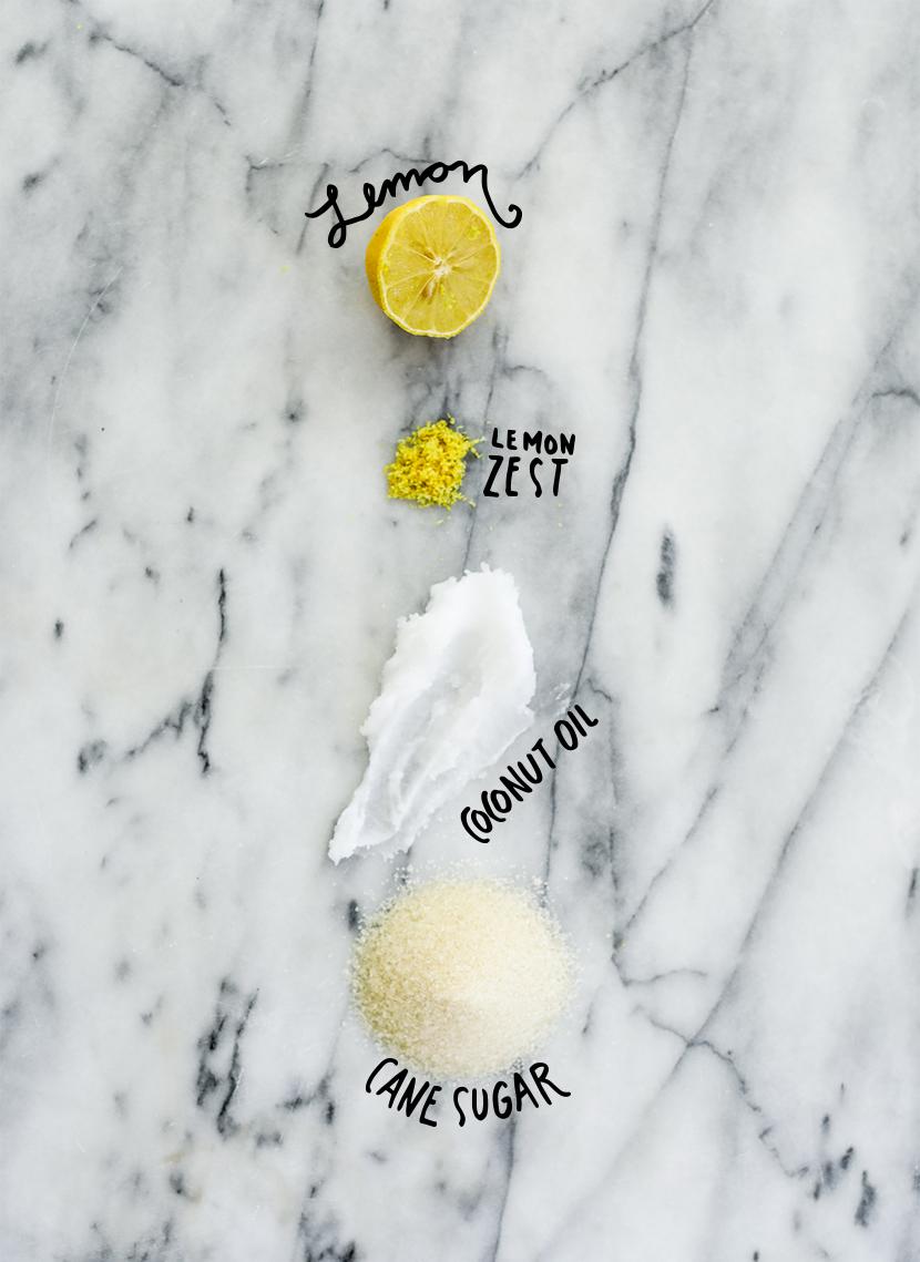 Ingredients for brightening DIY body Scubr recipe - lemon, lemon zest, coconut oi, and sugar