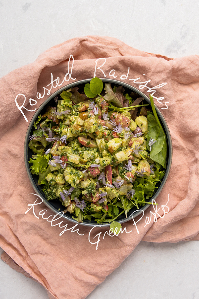 Roasted Radishes with Radish Green Pesto - Vegan Recipe on The Fresh Exchange