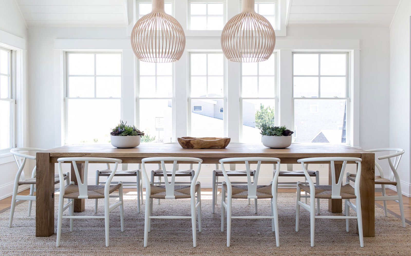 A Scandinavian Farmhouse style Dining space that is simple and modern. See more on The Fresh Exchange.