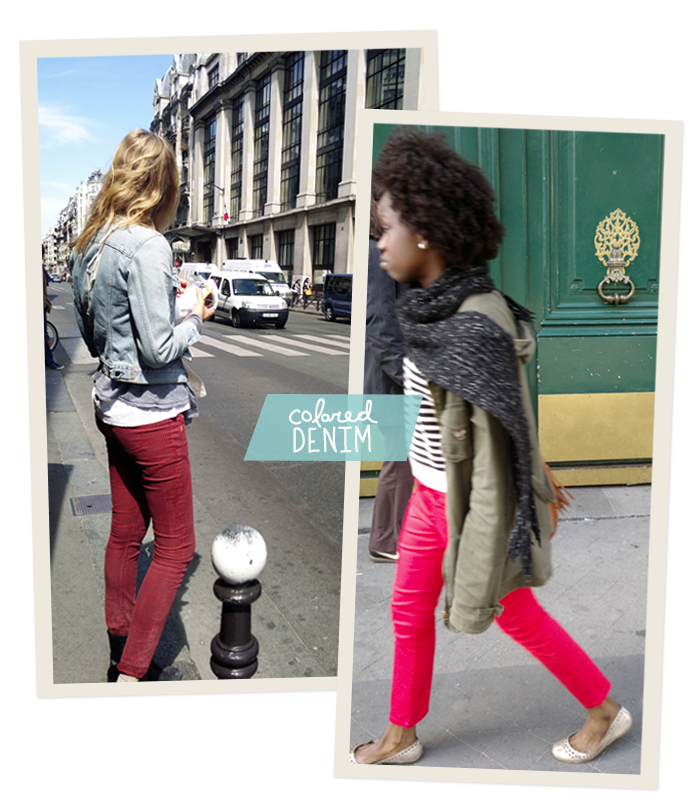 Colored denim, Paris Street STyle, Fashion