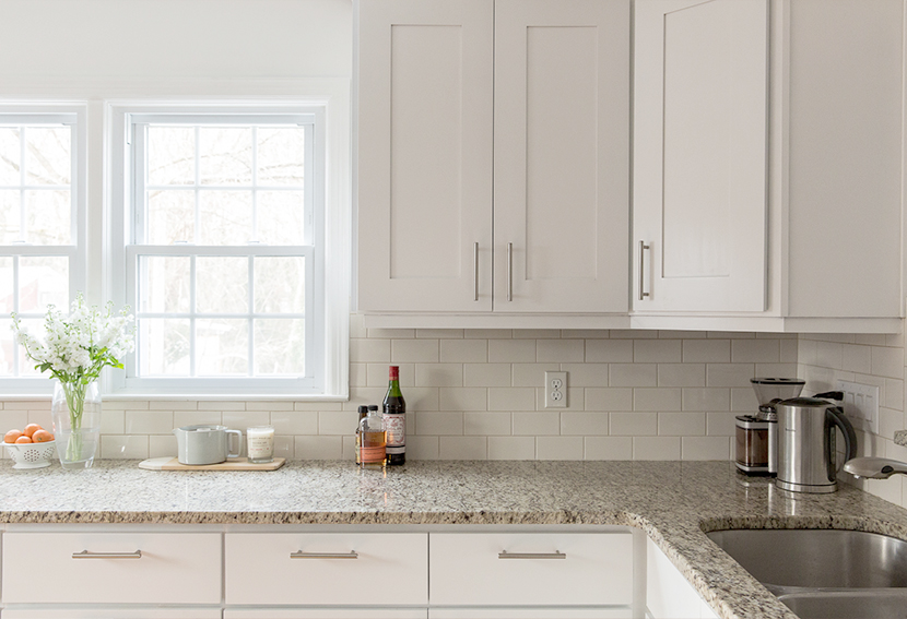 bright modern and white kitchen cabinets - painting remodel
