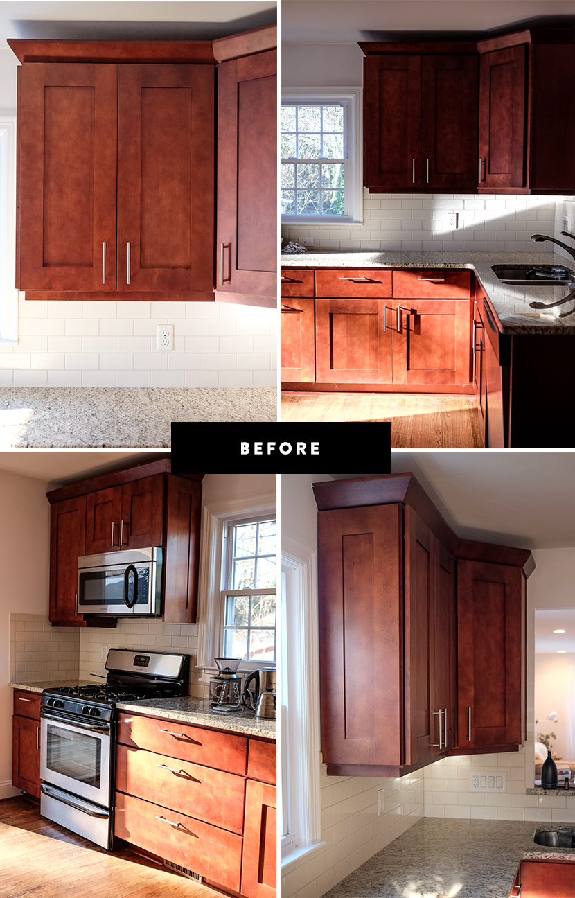 before image of cabinets before painting kitchen cabinets white
