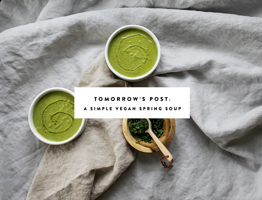 A Simple Vegan Spring Soup to cook up tonight with peas and tahini. Top the soup with high quality olive oil and a roughly chopped herb pesto. Get the full recipe on The Fresh Exchange