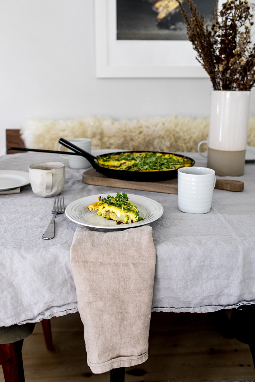 The perfect spring brunch Frittata to gather with friends early in the season. Great Easter brunch ideas. Get the full recipe on The Fresh Exchange.