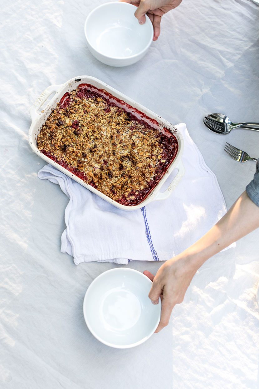 A Healthy Strawberry and Rhubarb Crumble for Summer. Get the simple and Gluten Free and Low Sugar recipe on The Fresh Exchange.