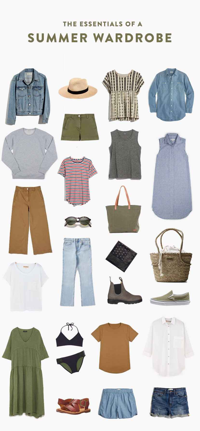 Summer Wardrobe Essentials. The Basics you need for a basic summer wardrobe for all days of the season.