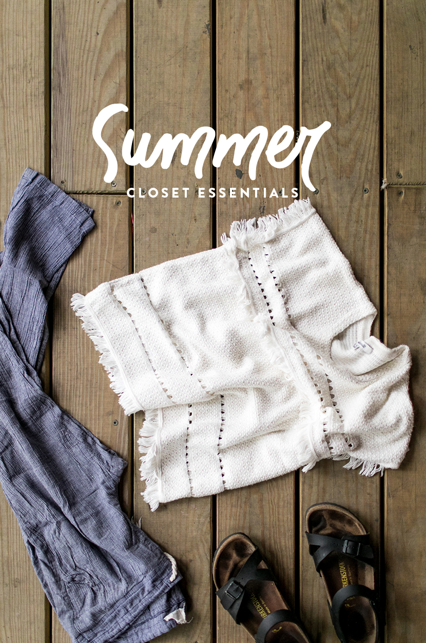 Summer Wardrobe Essentials for your Seasonal Closet on The Fresh Exchange. A Free Download to help you organize your closet for summer.