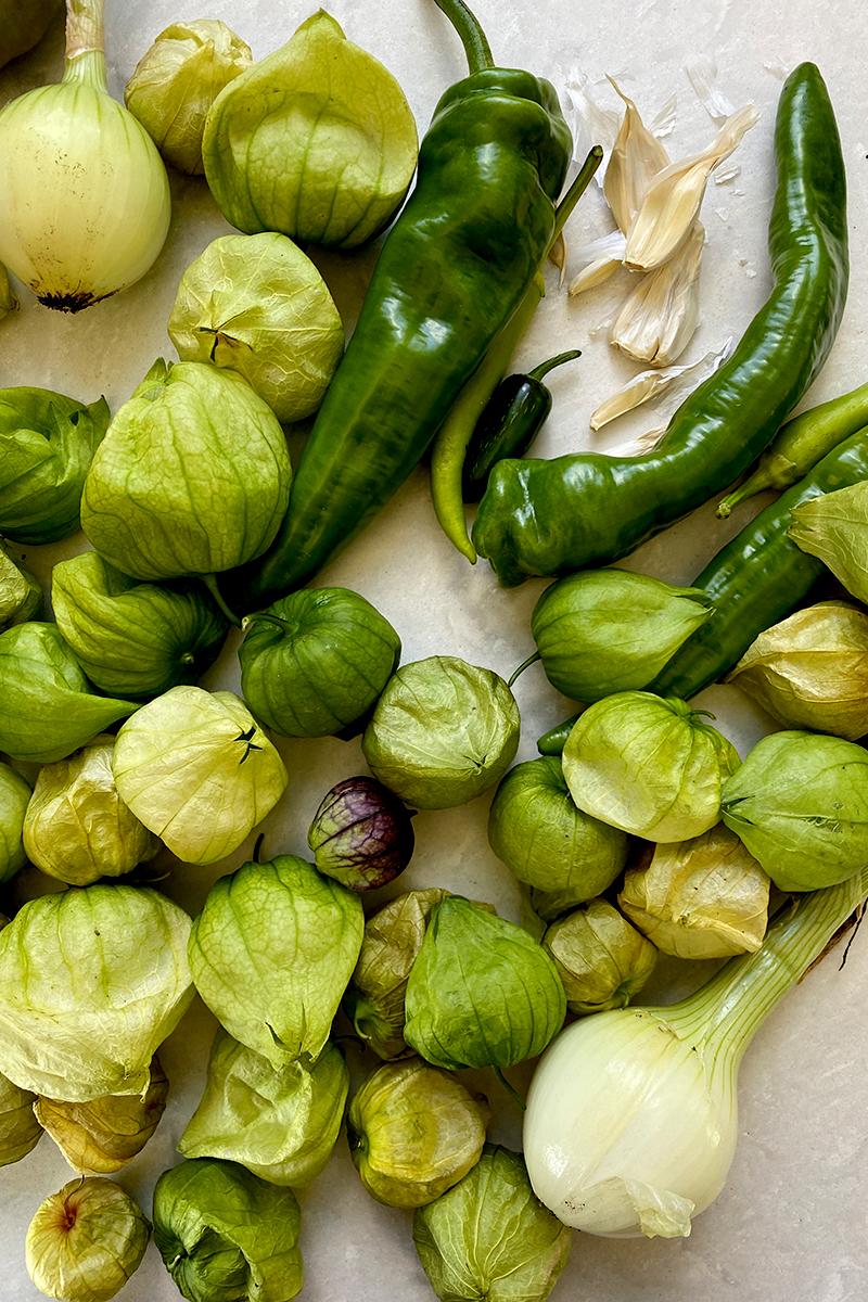 Ingredients for Tomatillo Salsa Verde Recipe