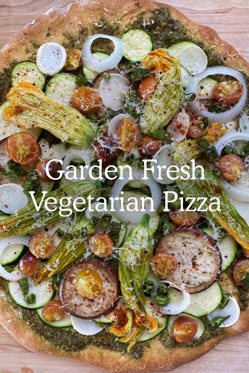 Garden Fresh Vegetarian Pizza Recipe that is simple and easy weeknight dinner in the summer.