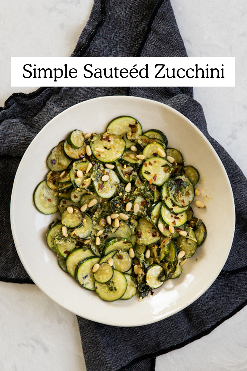 Image of the best Sautéed Zucchini in a white bowl