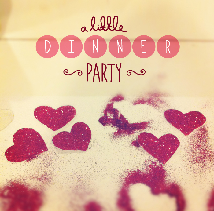 dinner party, inspiration, glitter hearts